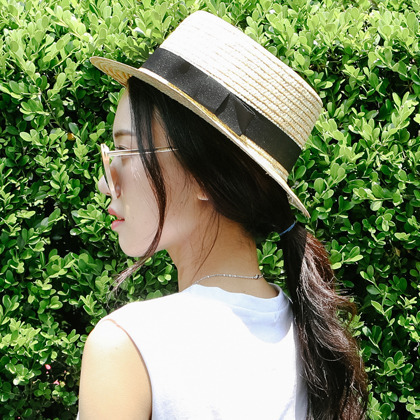 Contrast Ribbon Boater Hat