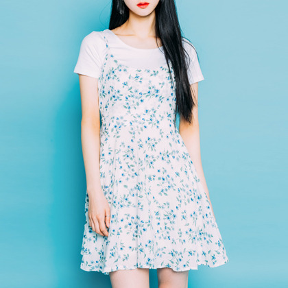 Floral Drawstring Belt Dress