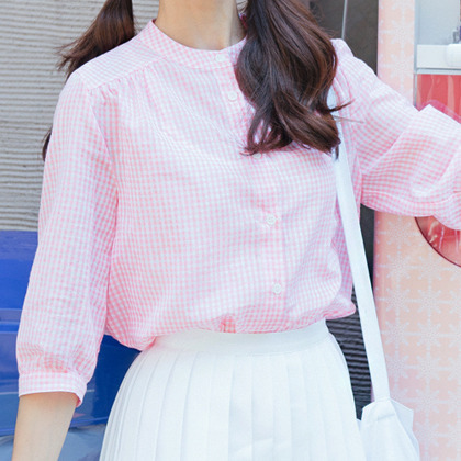 BAUHAUSGingham Check Button-Front Blouse