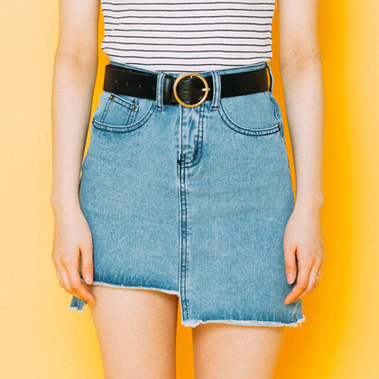 Raw Asymmetric Hem Denim Mini Skirt