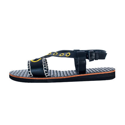 Contrast Stitch Woven Insole Sandals