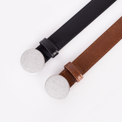 Round Metal Plate Buckle Belt
