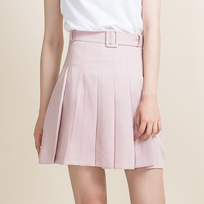 Belted Pleat Detailed Skirt