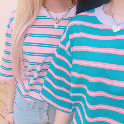 99bunnyStriped Half Sleeve Loose Fit T-Shirt