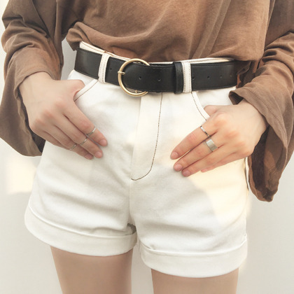High Waist Contrast Stitch Cuffed Shorts