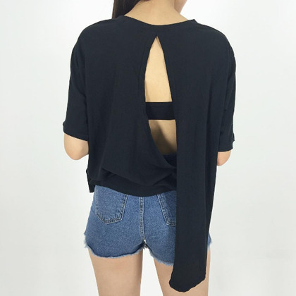 Back Cut Out Loose Fit T-Shirt