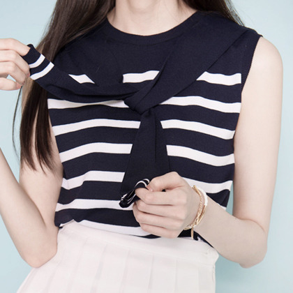 Sleeveless Striped Tie-Up Neck Top