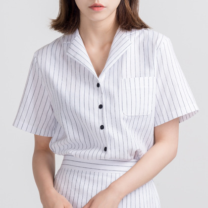 Striped Patch Pocket Button-Down Shirt