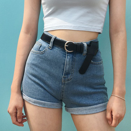 Denim High Waist Slim Cuffed Shorts