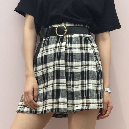 Plaid Print High Waist Skirt