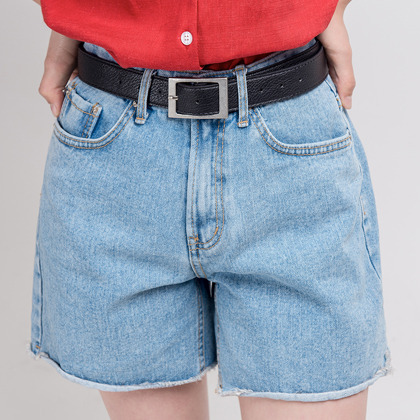 Basic Roll-Up Hem Denim Shorts