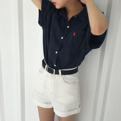 Half-Sleeved Button-Up Shirt
