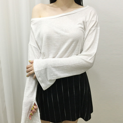 Slit Sleeves Wide Neck T-Shirt