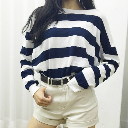 Striped Boat Neck Long Sleeve Top