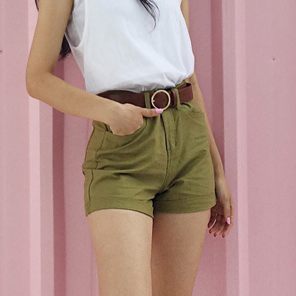 5-Pocket High Waist Cuffed Shorts