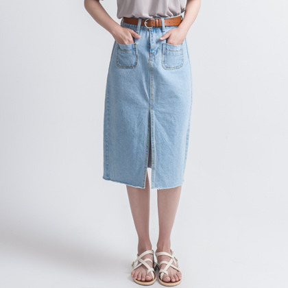 H-Line Front Slit Denim Skirt