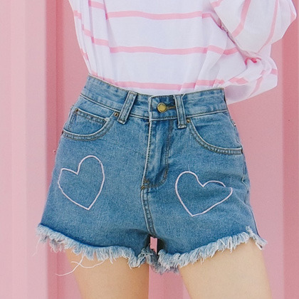 Heart Embroidery Frayed Denim Shorts