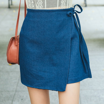 Wrap Front Mini Denim Skirt