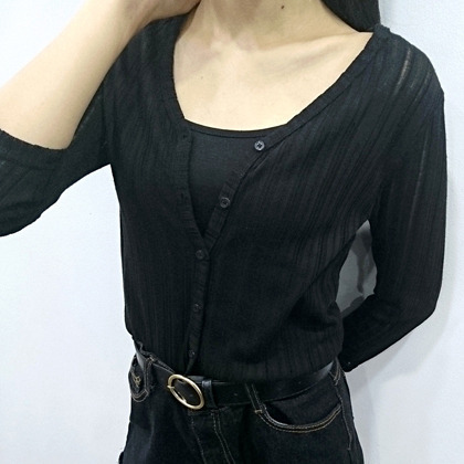Slim Corrugated Cardigan