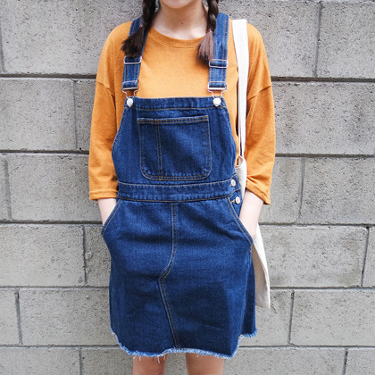 Racerback Frayed Denim Pinafore Dress