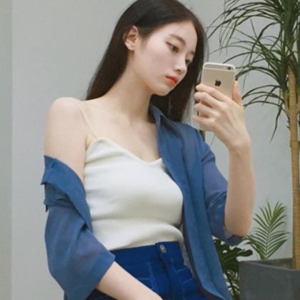 Thin Strap Corrugated Knit Top