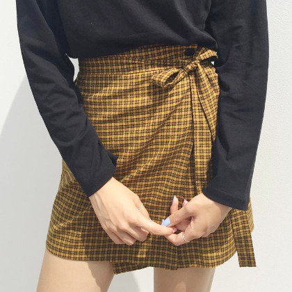 Check High-Waist Wrap Skirt