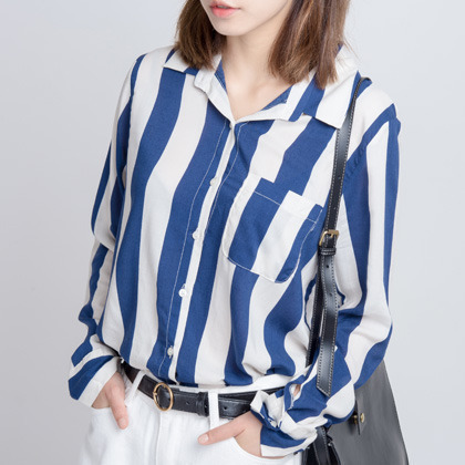 Striped One Pocket Button-Down Shirt
