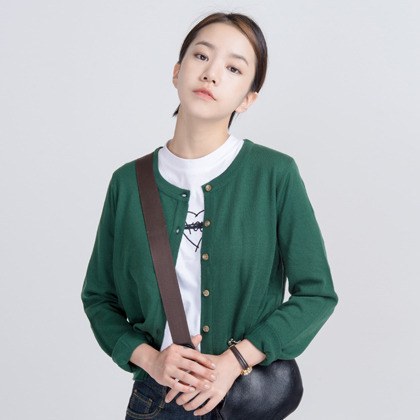 Basic Round Neck Button-Down Knit Cardigan