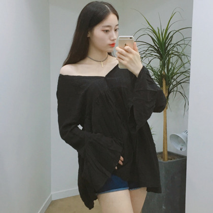 V-Neck Bell Sleeve Loose Fit Blouse