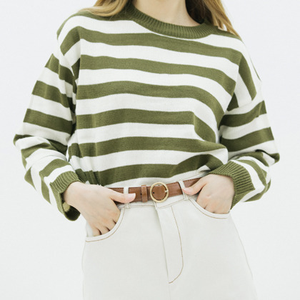 Striped Loose Fit Knit Sweater