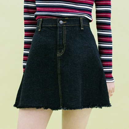 Frayed Hem A-Line Denim Skirt