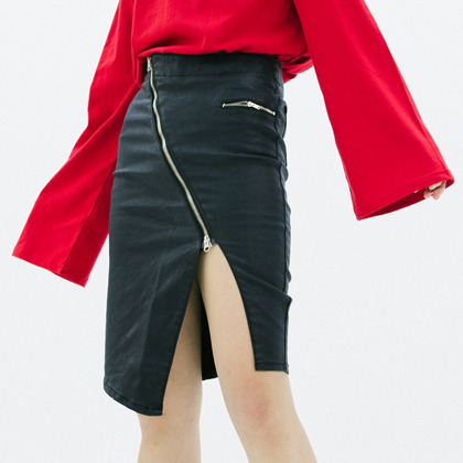 Black Asymmetrical Front Zipper Coated Skirt