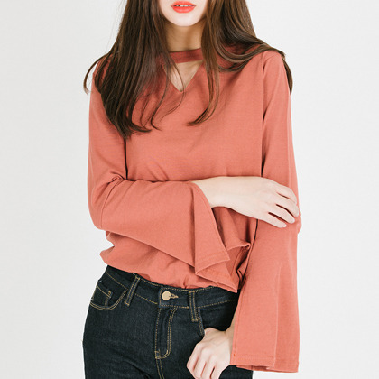 Cut Out Neck Bell Sleeve Top