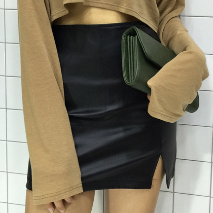 Black Side Slit Mini Skirt