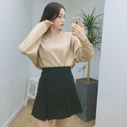 A-Line Pleated Mini Skirt