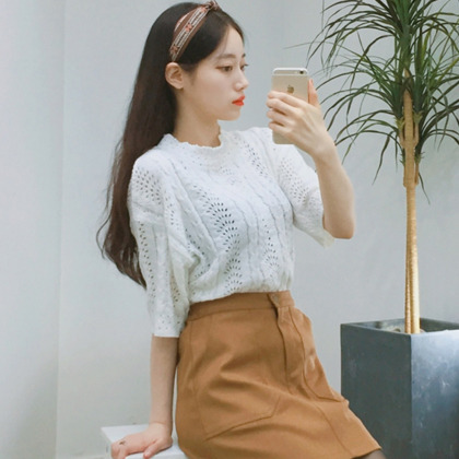 Mock Neck Open Knit Top