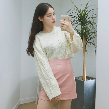 Twist Knit Wide Sleeve Sweater