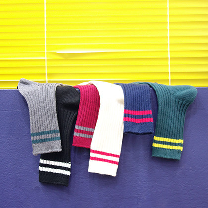 Double Striped Crew Socks