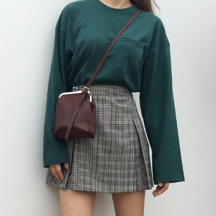 Check High Waist Pleat Detailed Mini Skirt