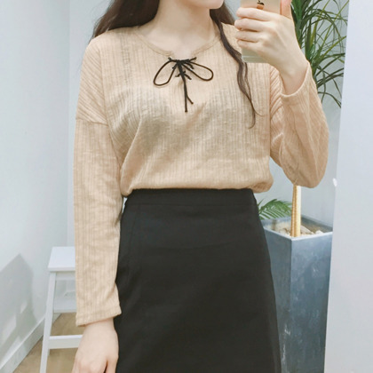 Lace-Up Neck Long Sleeve Top