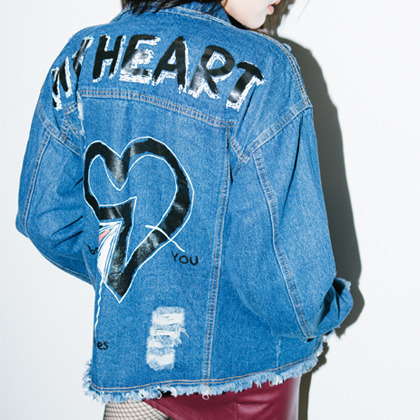 HEART Print Destroyed Denim Jacket