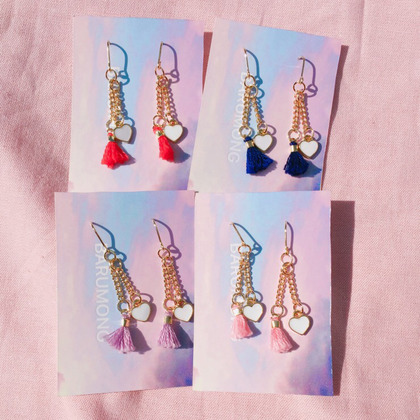 Chain Link Heart With Tassel Earrings