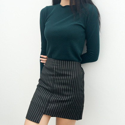 Striped Asymmetric Hem Mini Skirt