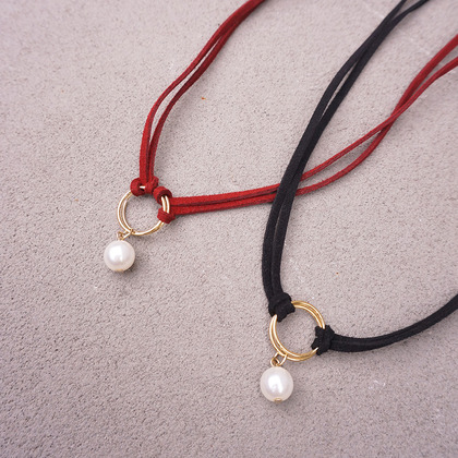 Double Strap Choker With Faux Pearls