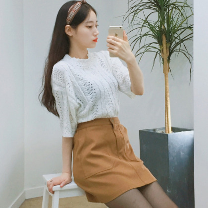 Pocket Detailed A-Line Mini Skirt