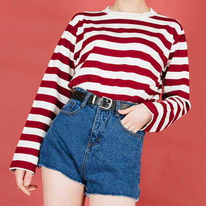 Stripe Patterned Long Sleeve Tee