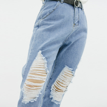 Pre-Damaged Cropped Boyfriend Jeans