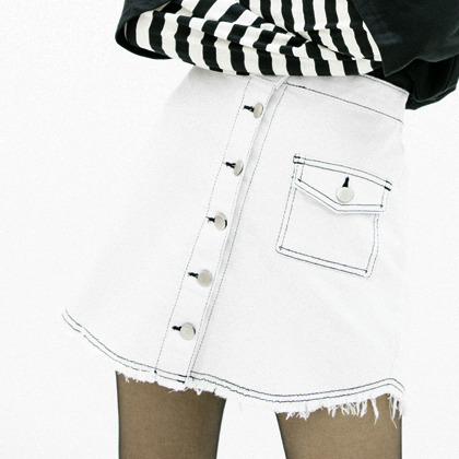 Frayed Hem Contrast Stitch Button-Front Skirt