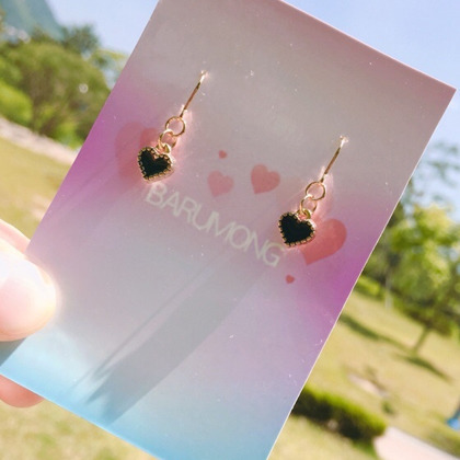 Small Black Heart Hook Earrings