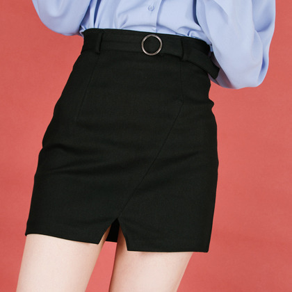 Belted Front Slit Mini Skirt